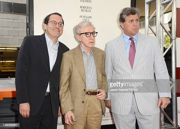 Sony Pictures Classics copresident Michael Barker director/producer Woody Allen and Sony Pictures Classics copresident Tom Bernard arrives at Film...