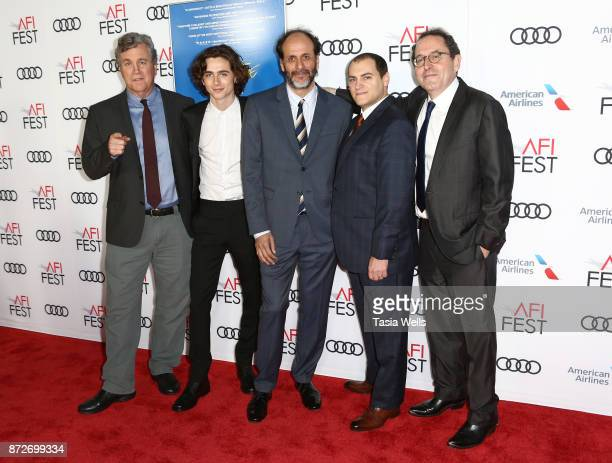 Sony Pictures Classics CoPresident Tom Bernard actor Timothee Chalamet director Luca Guadagnino actor Michael Stuhlbarg and Sony Pictures Classics...