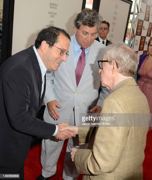 Sony Pictures Classics copresidents Michael Barker Tom Bernard and director/producer Woody Allen arrive at Film Independent's 2012 Los Angeles Film...