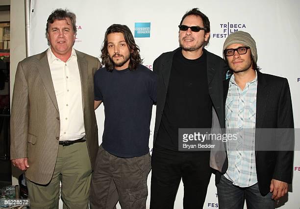 Sony Pictures Classics president Tom Bernard actor Diego Luna director Carlos Cuaron and actor Gael Garcia Bernal attend the premiere of Rudo Y Cursi...