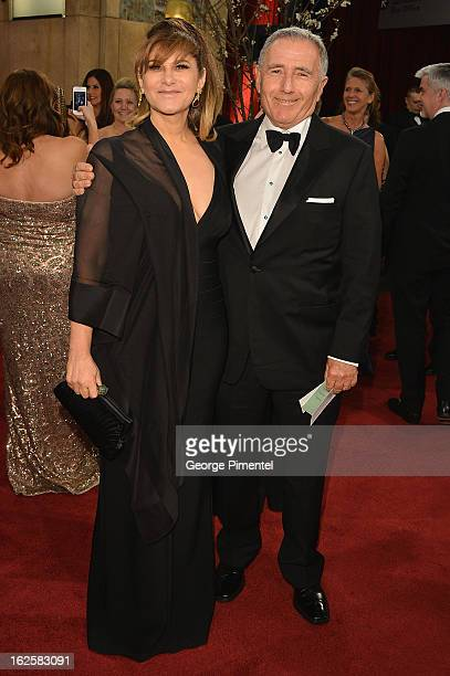 Sony Pictures Co- Chairman Amy Pascal and husband Bernard Weinraub arrive at the Oscars at Hollywood & Highland Center on February 24, 2013 in...