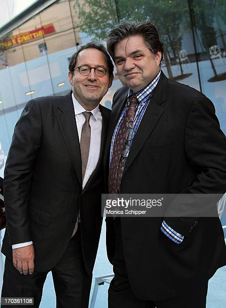 Sony Pictures CoFounder and CoPresident Michael Barker and actor Oliver Platt attend Museum of the Moving Image Inaugural Envision Award Gala Dinner...