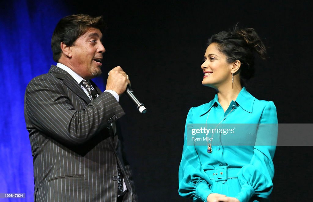 Sony Pictures' head of distribution Rory Bruer speaks with Actress Salma Hayek onstage during the Sony Pictures Entertainment Invites You to an Exclusive Product Presentation Highlighting its 2013 Films at Caesars Palace during CinemaCon, the official convention of the National Association of Theatre Owners on April 17, 2013 in Las Vegas, Nevada.