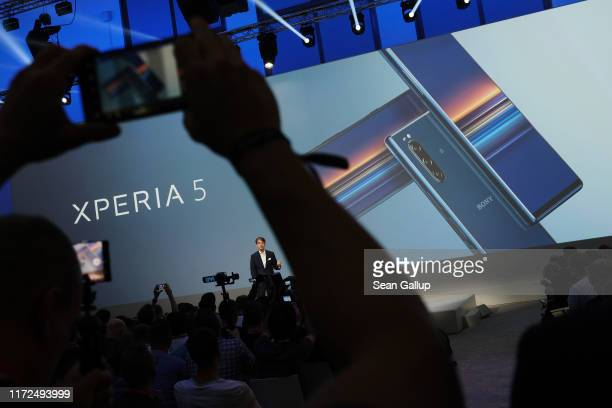 Sony presents its new Xperia 5 smartphone at the 2019 IFA home electronics and appliances trade fair on September 05, 2019 in Berlin, Germany. The...