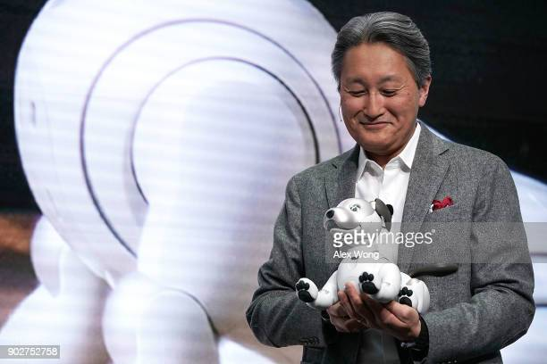 Sony President and CEO Kazuo Hirai introduces the latest generation of the robotic pet Aibo during a press event for CES 2018 at the Las Vegas...
