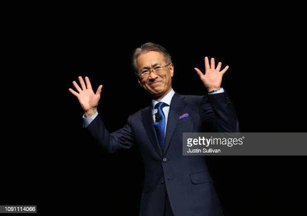 Sony President and CEO Kenichiro Yoshida gestures during a Sony press event for CES 2019 at the Las Vegas Convention Center on January 7, 2019 in Las...