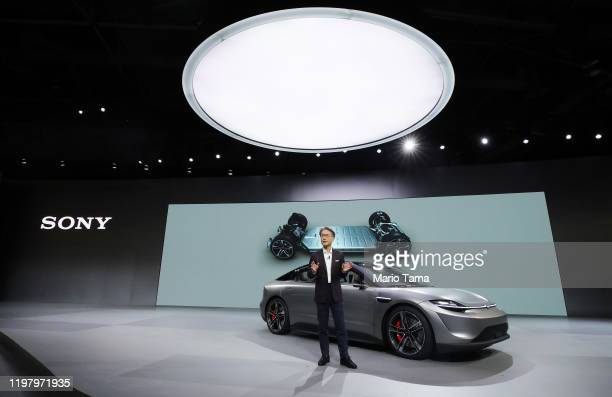 Sony President and CEO Kenichiro Yoshida speaks after unveiling the Sony Vision-S electric concept car during a Sony press event for CES 2020 at the...