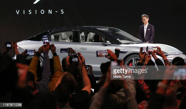 Sony President and CEO Kenichiro Yoshida unveils the Sony Vision-S electric concept car during a Sony press event for CES 2020 at the Las Vegas...