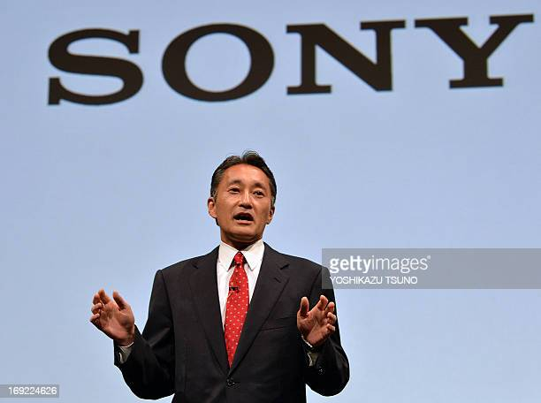 Sony president Kazuo Hirai speaks before press at the company's headquarters in Tokyo on May 22 2013 Sony held a presser to announce their medium...