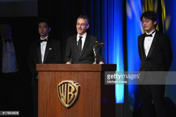 Sony President of Physical Production for Screen Gems Glenn Gainor accepts the Sir Charles Wheatstone Award onstage at the Advanced Imaging Society...