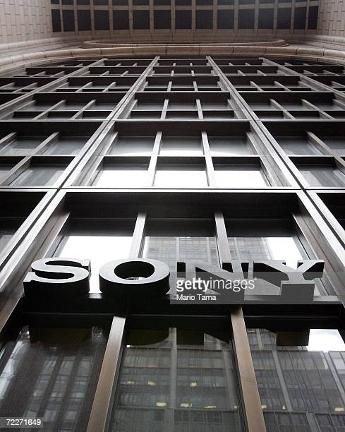 Sony sign hangs at the Sony Tower in Manhattan October 26 2006 in New York City Sony announced that its third quarter profits dropped 94 percent...