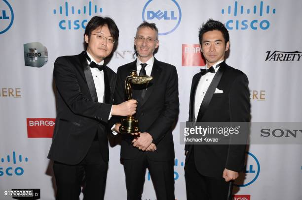 Sony team poses with the Sir Charles Wheatstone Award at the Advanced Imaging Society 2018 Lumiere Awards presented by Dell and Cisco at Steven J...