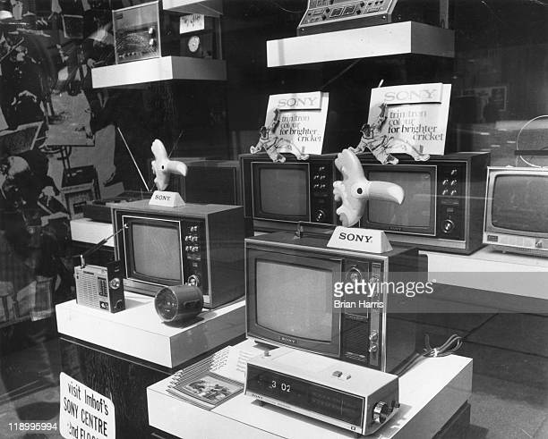 Sony television sets on display in a shop window, examples of the influx of Japanese goods into British stores, United Kingdom, 13 October 1972.