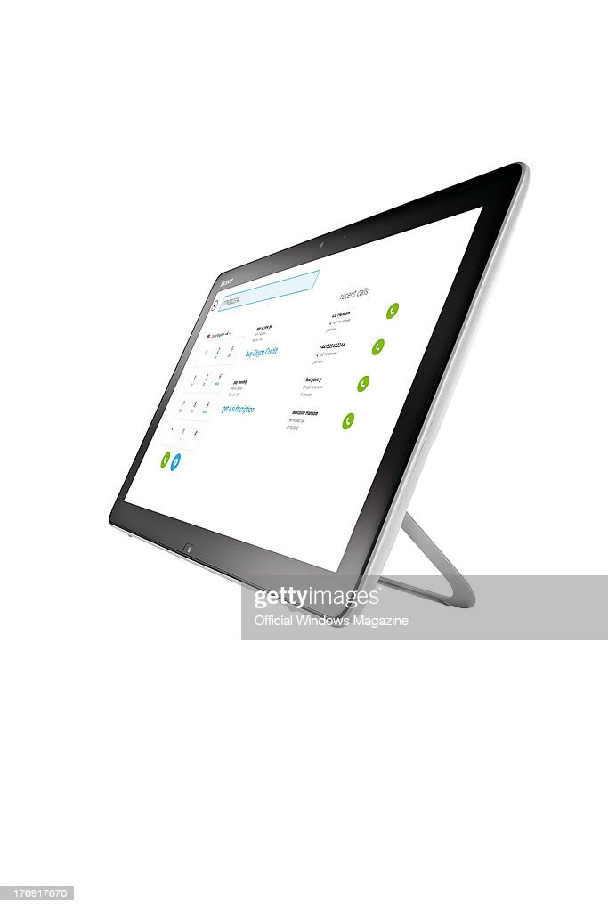 A Sony Vaio Tap 20 tablet computer photographed during a