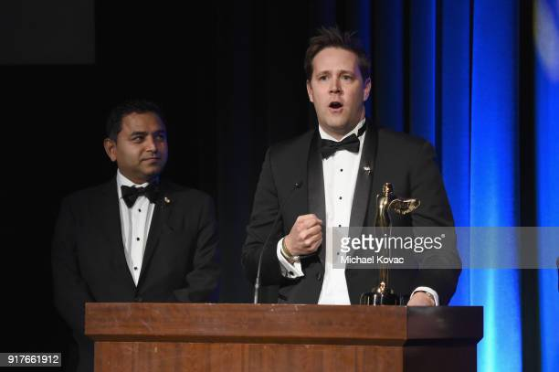 Sony VR SVP Jake Zim accepts the Lumiere Award for Best VR Brand Experience Motion Picture onstage at the Advanced Imaging Society 2018 Lumiere...