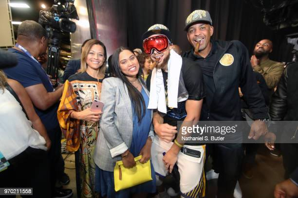 Sonya Curry Ayesha Curry Stephen Curry of the Golden State Warriors and Dell Curry pose for a photo after Game Four of the 2018 NBA Finals against...