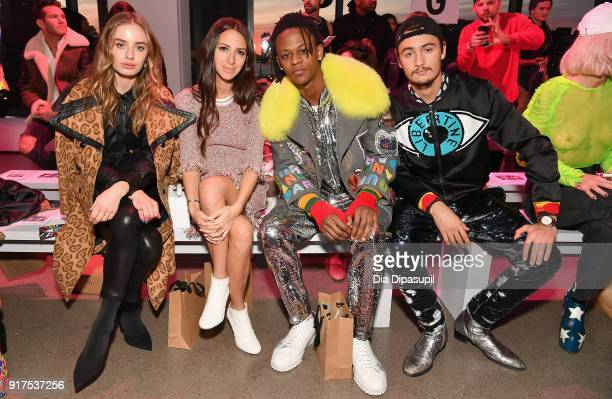 Sonya Esman Arielle Charnas Miles O'Neil and Brandon Thomas Lee attend the Libertine fashion show during New York Fashion Week The Shows at Gallery...