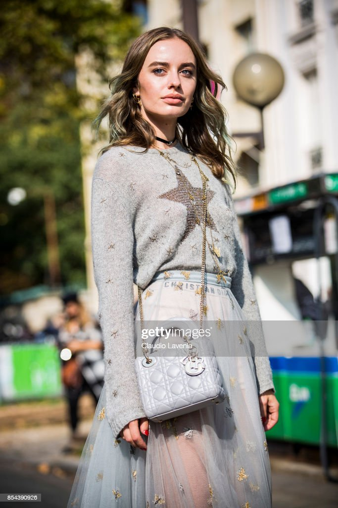 Sonya Esman poses wearing Dior after the Dior show at the Musee Rodin during Paris Fashion Week Womenswear SS18 on September 26, 2017 in Paris, France.