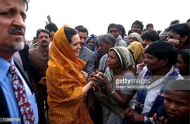 Sonya Gandhi in campaign for legislatives In Amethi, India On March 01, 1998.