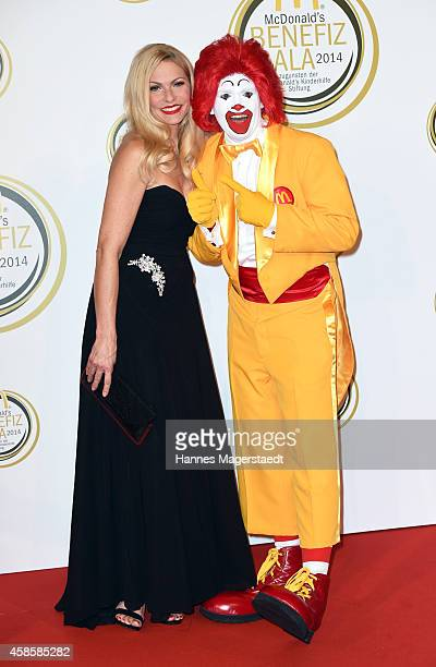 Sonya Kraus and Ronald McDonald attend the McDonald's charity gala on November 7, 2014 in Weissach near Rottach-Egern, Germany.