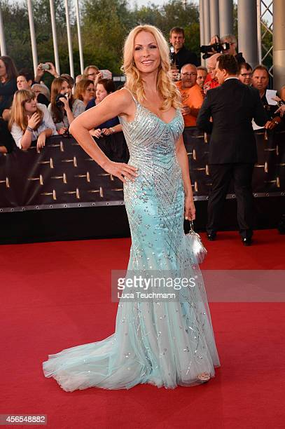 Sonya Kraus attends the red carpet of the Deutscher Fernsehpreis 2014 at Coloneum on October 2 2014 in Cologne Germany