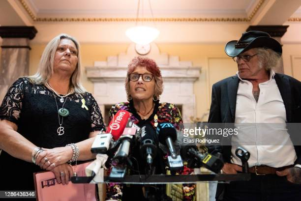 Sonya Rockhouse, Anna Osborne and Rowdy Durbridge speak to media at the tenth anniversary of Pike River Mine disaster held at Legislative Council...