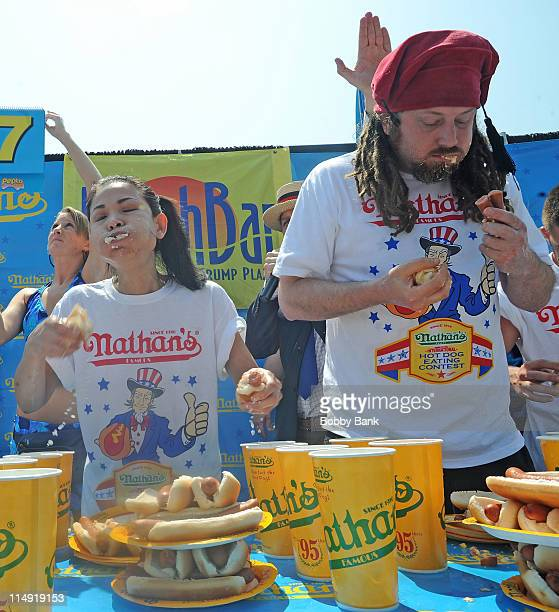 Sonya Thomas and Crazy Legs Conti at the 2011 Nathans Famous Hot Dog Eating Contest Atlantic City qualifying at Trump Plaza Hotel Casino on May 28...