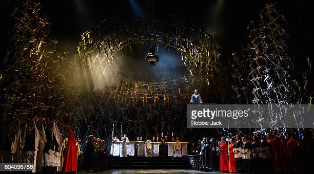 Sonya Yoncheva as Norma with artists of the company in the Royal Opera's production of Vincenzo Bellini's Norma directed by Alex Olle and conducted...