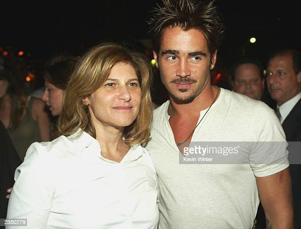 Sony's Amy Pascal and actor Colin Farrell pose at the afterparty for SWAT on July 30 2003 in Los Angeles California
