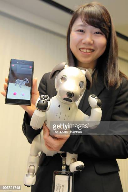 Sony's new Aibo robot dog is seen during its launching ceremony on January 11 2018 in Tokyo Japan The muchloved electronic pup has been redesigned...