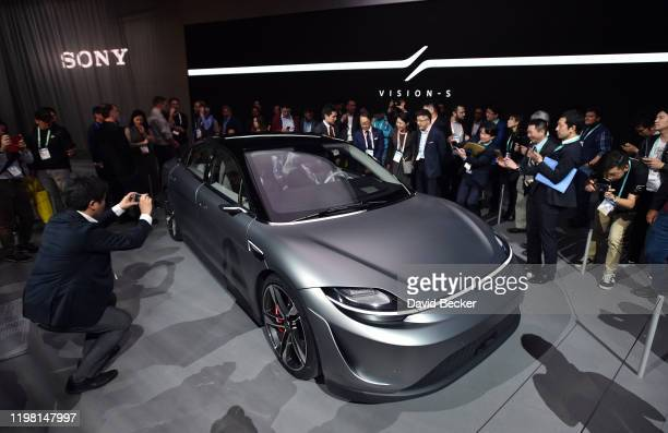 Sony's Vision-S, an all electric concept vehicle, is displayed at the Sony booth during CES 2020 at the Las Vegas Convention Center on January 7,...