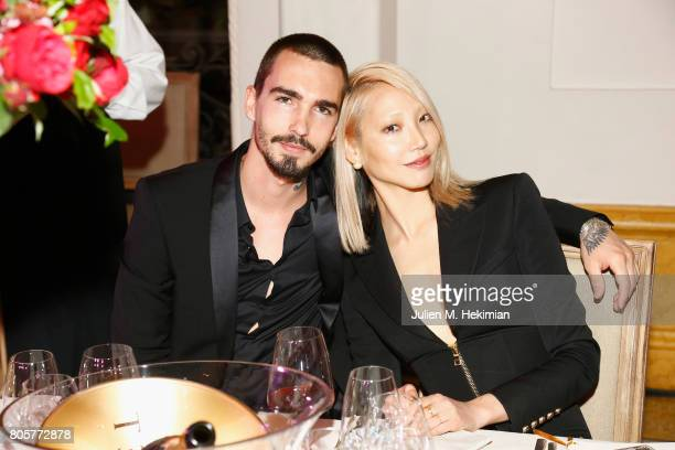 Soo Joo Park and Jack Waterlot attend the amfAR Paris Dinner 2017 at Le Petit Palais on July 2 2017 in Paris France