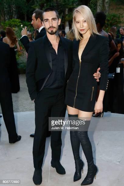 Soo Joo Park and Jack Waterlot attends the amfAR Paris Dinner 2017 at Le Petit Palais on July 2 2017 in Paris France
