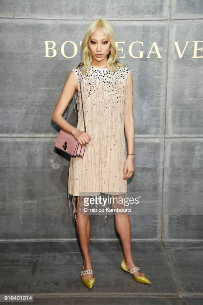 Soo Joo Park attends the Bottega Veneta Fall/Winter 2018 fashion show at New York Stock Exchange on February 9 2018 in New York City