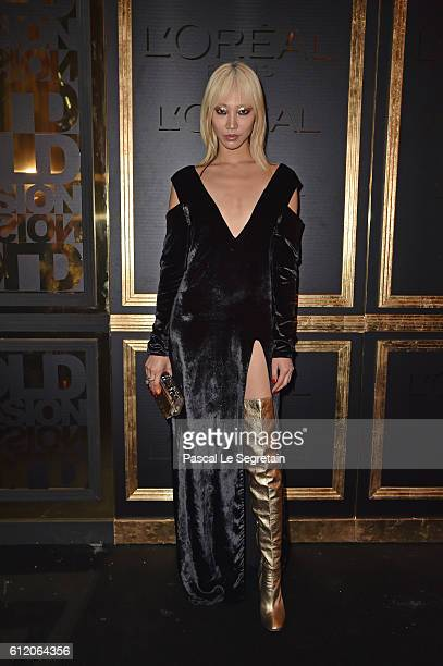 Soo Joo Park attends the Gold Obsession Party L'Oreal Paris Photocall as part of the Paris Fashion Week Womenswear Spring/Summer 2017 on October 2...