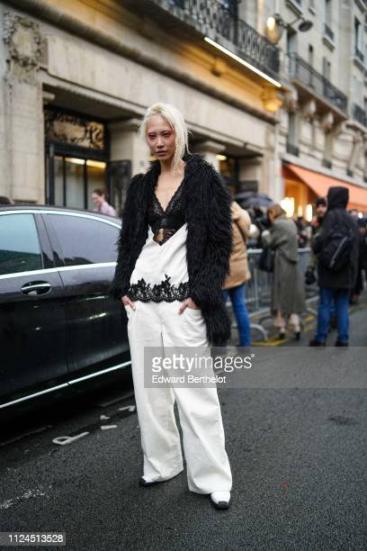 Soo Joo park is seen, after Atelier Jean-Paul Gaultier, during Paris Fashion Week - Haute Couture - Spring Summer 2019, on January 23, 2019 in Paris,...