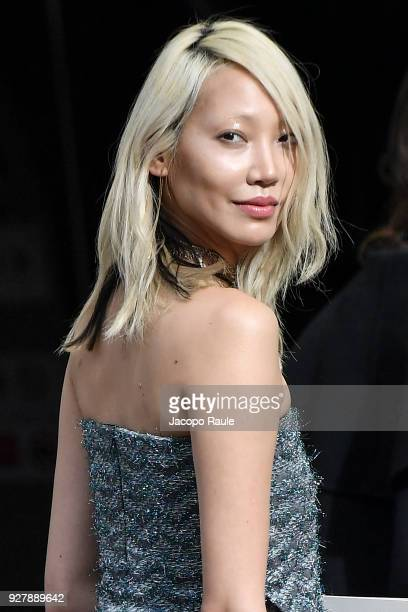 Soo Joo Park is seen arriving at Chanel Fashion Show during the Paris Fashion Week Womenswear Fall/Winter 2018/2019 on March 6 2018 in Paris France