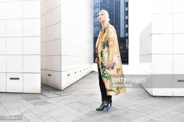 Soo Joo Park is seen arriving at Mugler fashion show during Paris Fashion Week Womenswear Fall/Winter 2019/2020 on February 27 2019 in Paris France