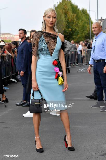 Soo Joo Park is seen arriving for the Prada fashion show during the Milan Fashion Week Spring/Summer 2020 on September 18 2019 in Milan Italy