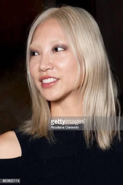 Soo Joo Park is seen backstage ahead of the Aigner show during Milan Fashion Week Spring/Summer 2018 on September 22 2017 in Milan Italy