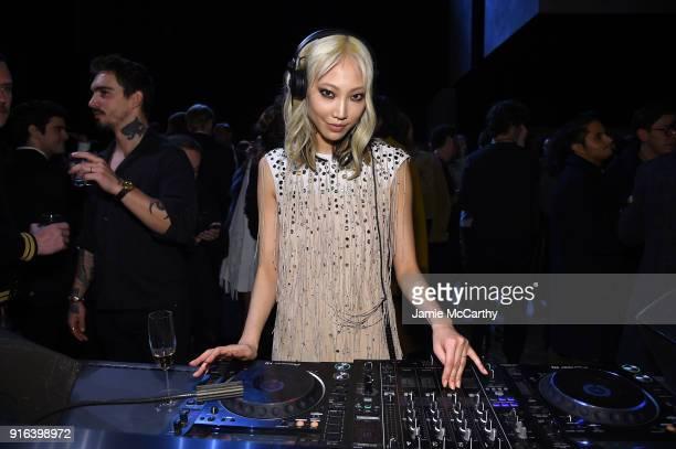 Soo Joo Park performs at the Bottega Veneta Fall/Winter 2018 fashion show at New York Stock Exchange on February 9 2018 in New York City