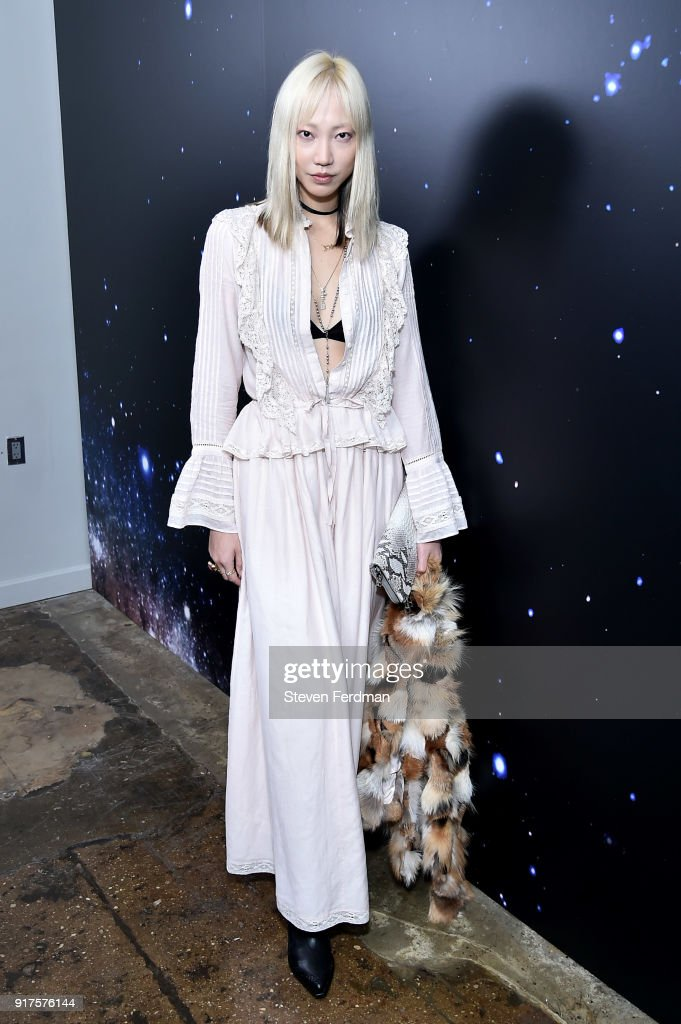 Soo Joo Park poses backstage for the Zadig & Voltaire fashion show during New York Fashion Week at Cedar Lake Studios on February 12, 2018 in New York City.