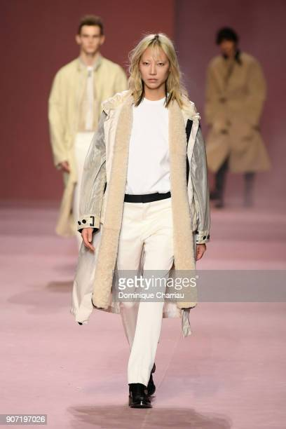 Soo Joo Park walks the runway during the Berluti Plus Menswear Fall/Winter 20182019 show as part of Paris Fashion Week on January 19 2018 in Paris...