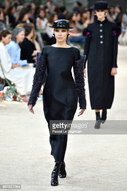 Soo Joo Park walks the runway during the Chanel Haute Couture Fall/Winter 20172018 show as part of Haute Couture Paris Fashion Week on July 4 2017 in...