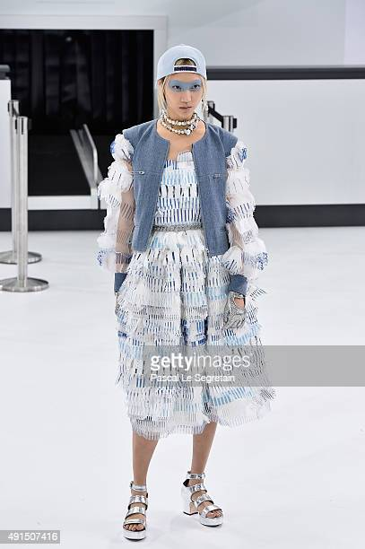 Soo Joo Park walks the runway during the Chanel show as part of the Paris Fashion Week Womenswear Spring/Summer 2016 on October 6 2015 in Paris France