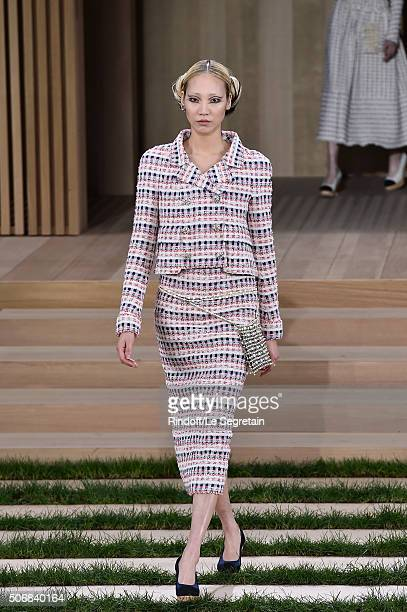 Soo Joo Park walks the runway during the Chanel Spring Summer 2016 show as part of Paris Fashion Week on January 26 2016 in Paris France