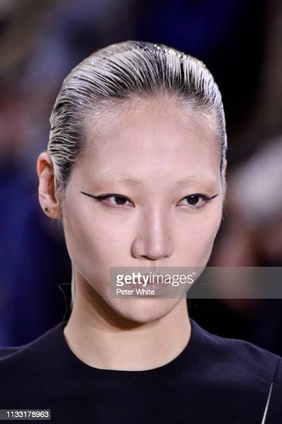 Soo Joo Park walks the runway during the Haider Ackermann show as part of the Paris Fashion Week Womenswear Fall/Winter 2019/2020 on March 02, 2019...