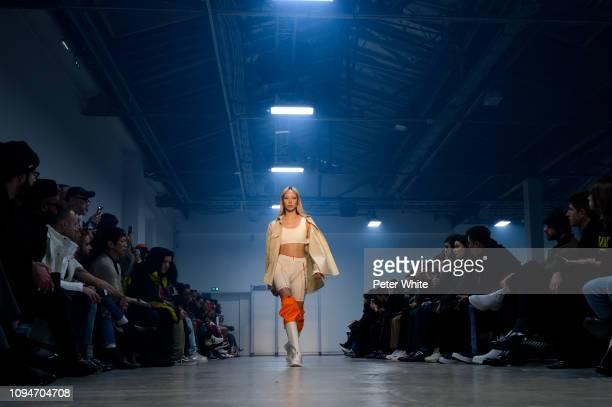 Soo Joo Park walks the runway during the Heron Preston Menswear Fall/Winter 2019-2020 show as part of Paris Fashion Week on January 15, 2019 in...