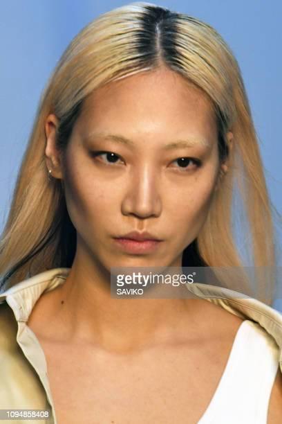 Soo Joo Park walks the runway during the Heron Preston Menswear Fall/Winter 2019-2020 fashion show as part of Paris Fashion Week on January 15, 2019...