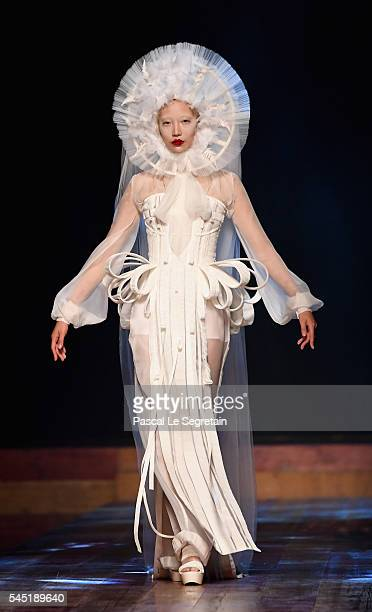Soo Joo Park walks the runway during the Jean Paul Gaultier Haute Couture Fall/Winter 2016-2017 show as part of Paris Fashion Week on July 6, 2016 in...